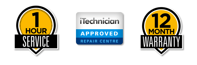 ArmaFone Ipswich 12 months warranty, iTechnician and 1 hours service icons