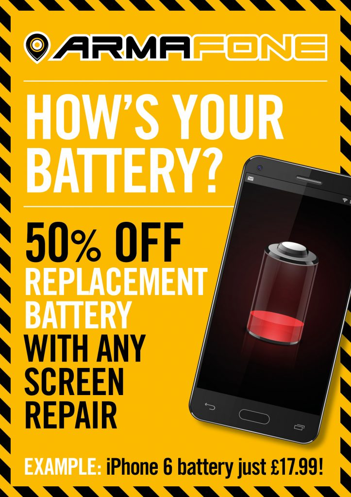 half price iphone battery with every iphone repair offer