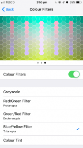 screen settings colour filters