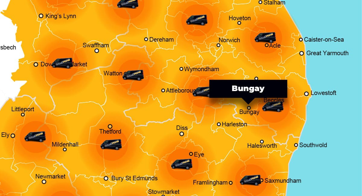 Bungay phone repair - call-out service coverage area