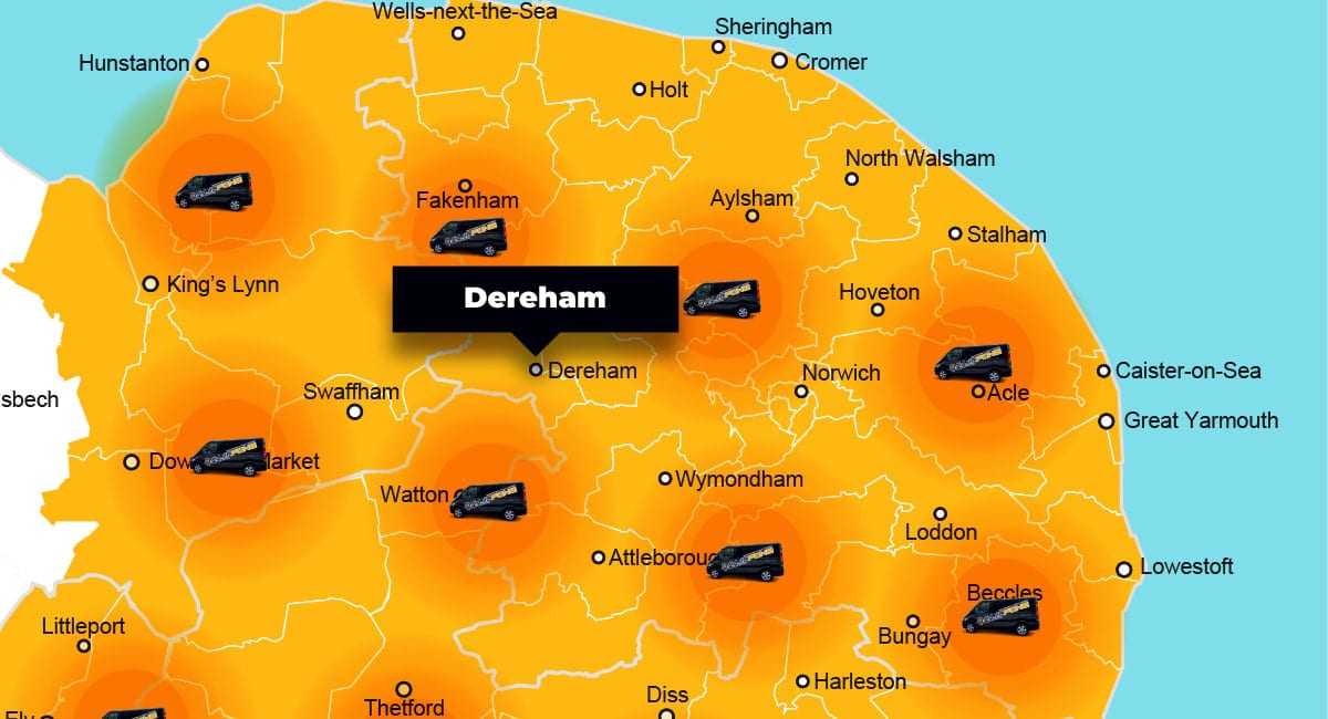 Dereham phone repair - call-out service coverage area