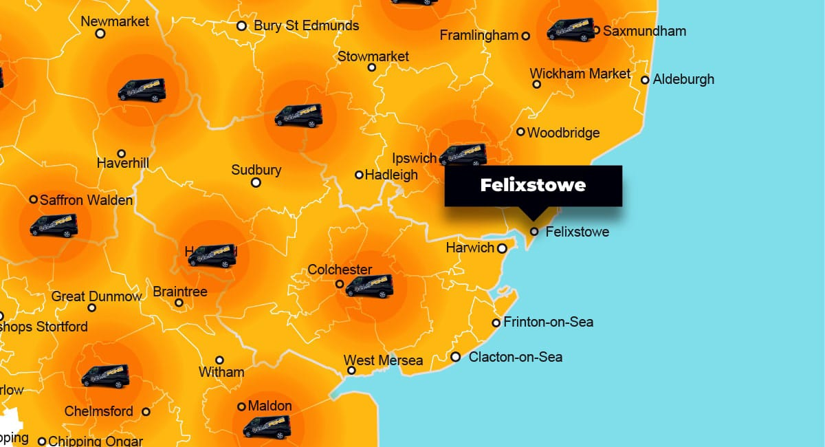 Felixstowe phone repair - call-out service coverage area