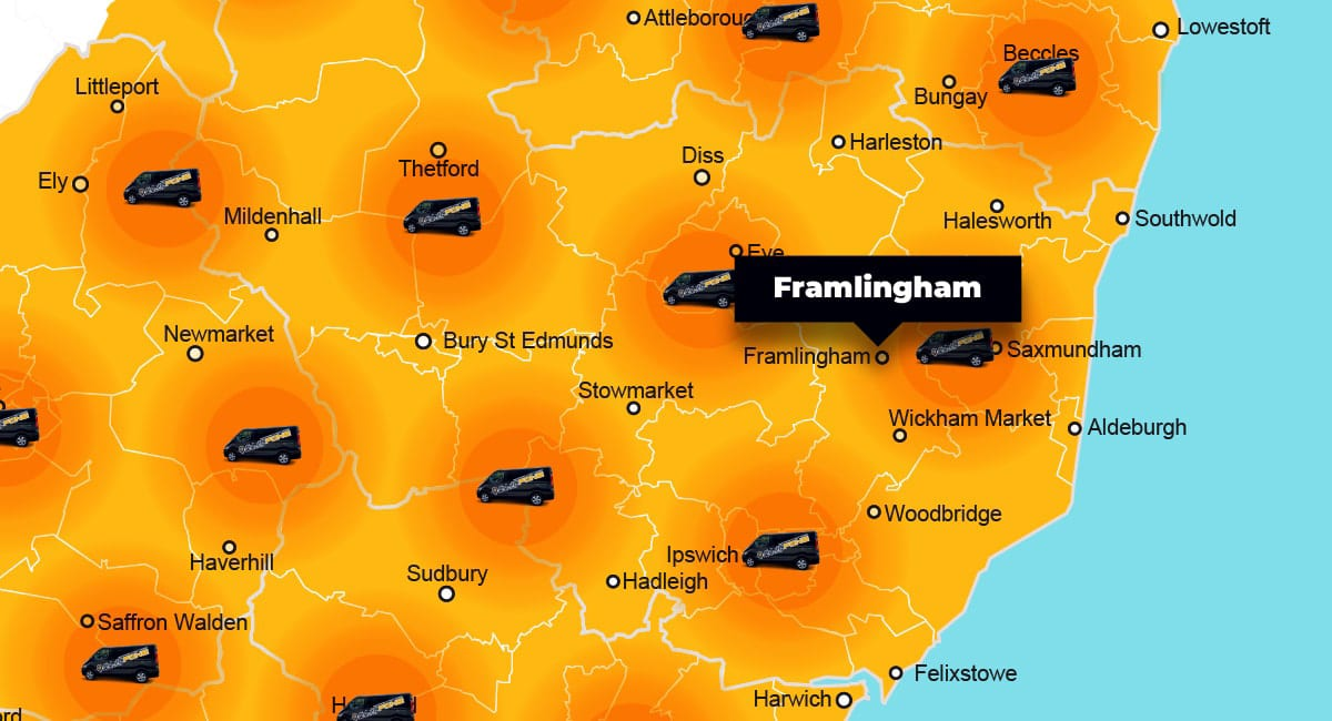 Framlingham phone repair - call-out service coverage area