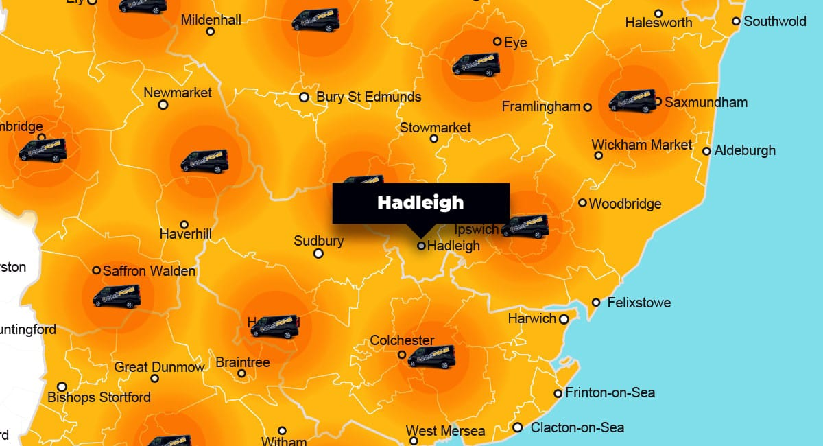 Hadleigh phone repair - call-out service coverage area