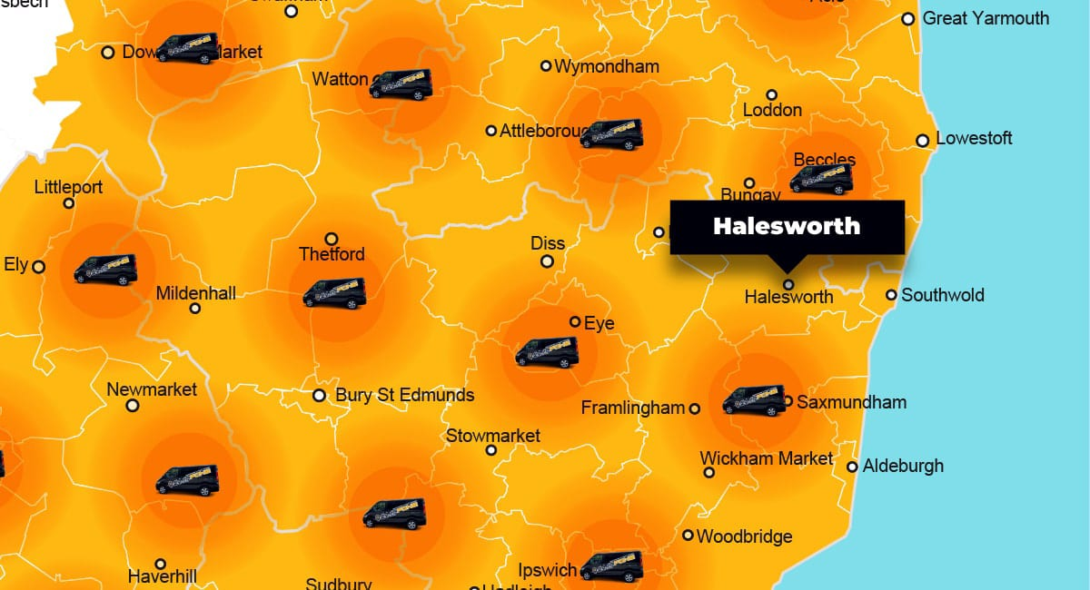 Halesworth phone repair - call-out service coverage area