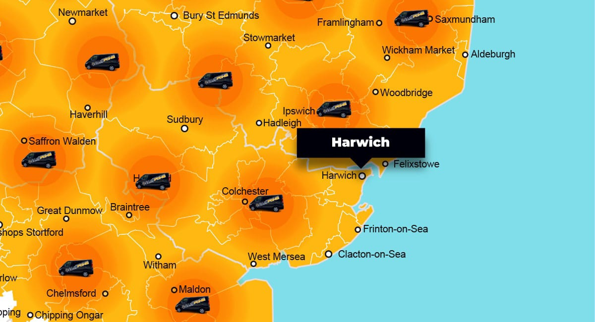 Harwich phone repair - call-out service coverage area