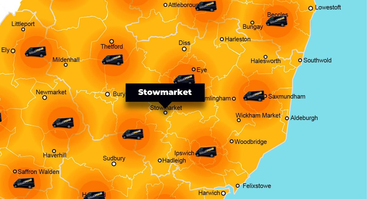 Stowmarket phone repair - call-out service coverage area