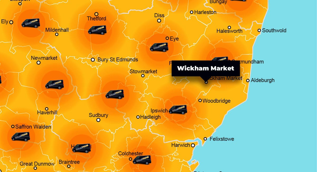 Wickham Market phone repair - call-out service coverage area
