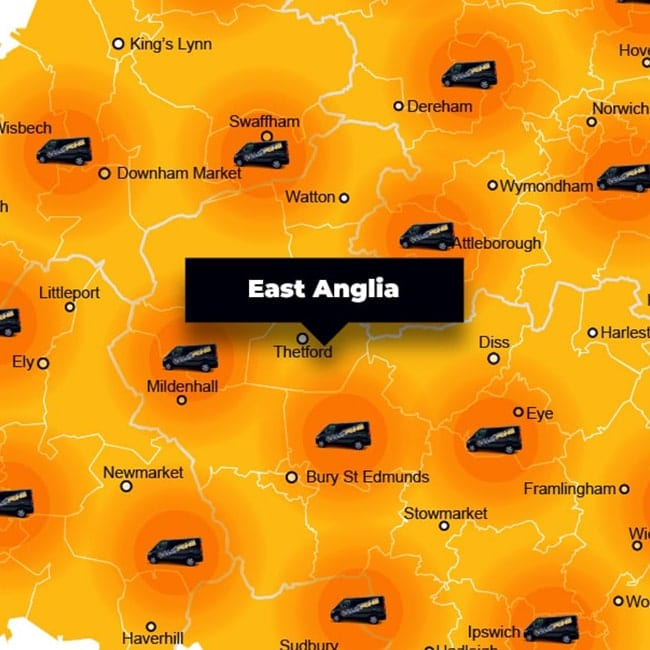 East Anglia phone repair - call-out service coverage area