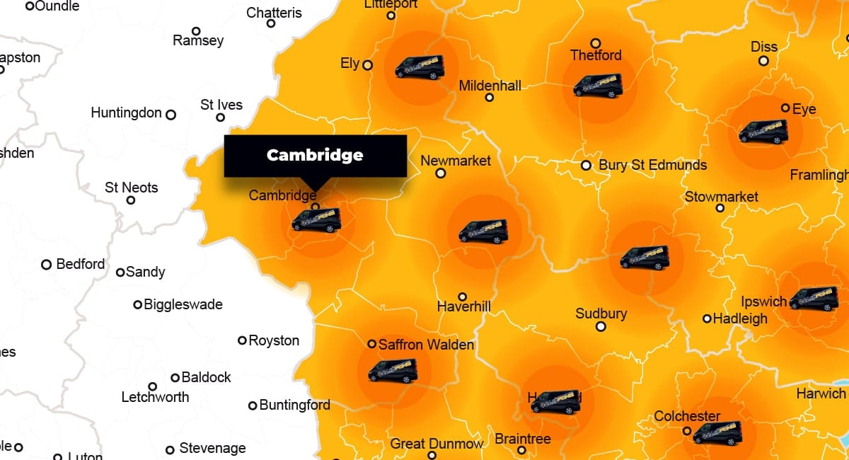 Cambridge phone repair - call-out service coverage area