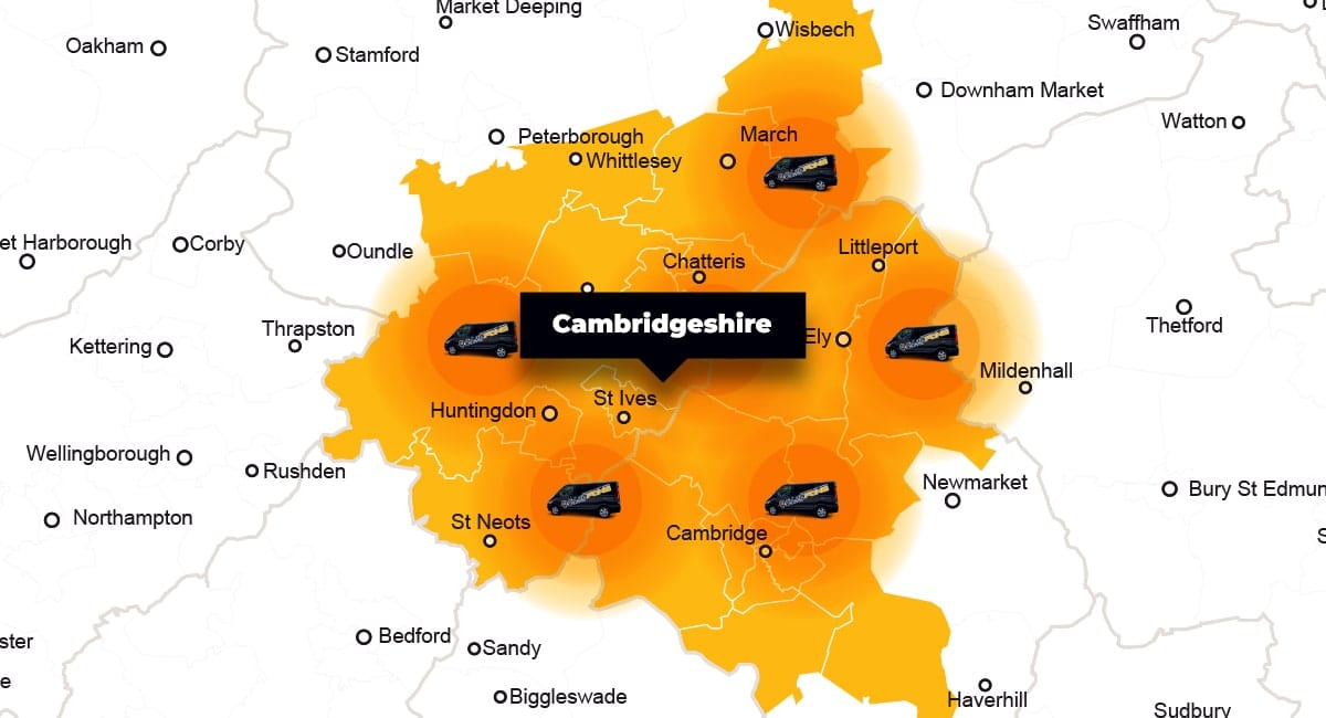Cambridgeshire phone repair - call-out service coverage area