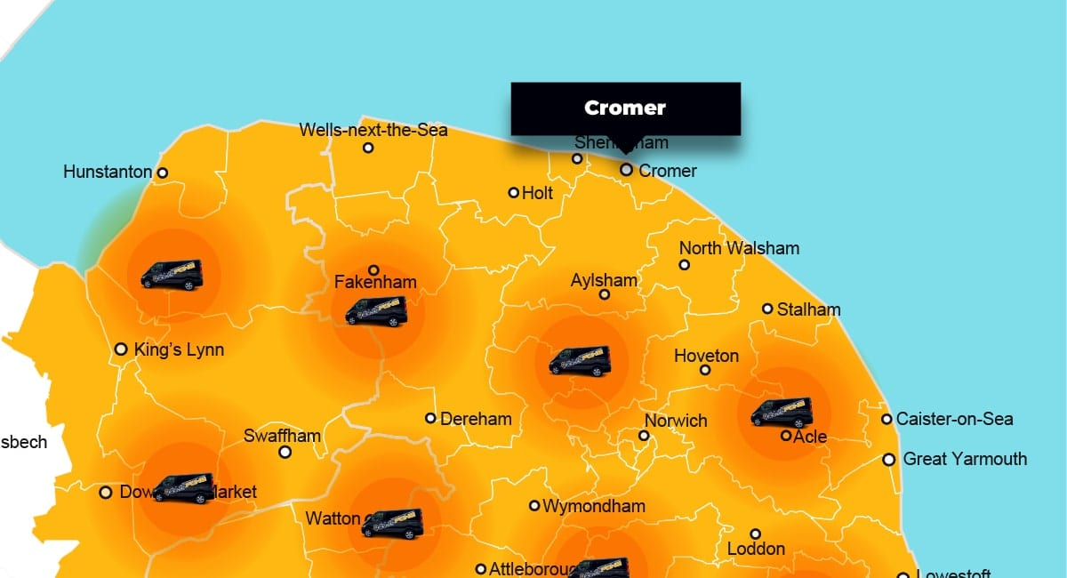 Cromer phone repair - call-out service coverage area