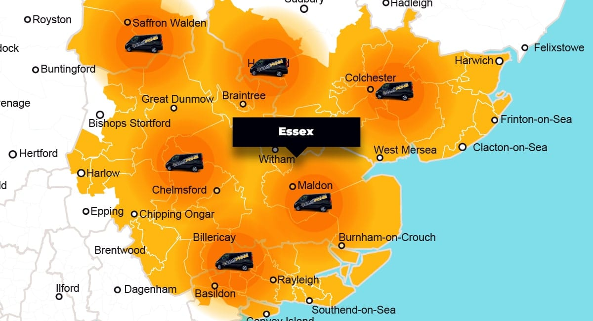 Essex phone repair - call-out service coverage area