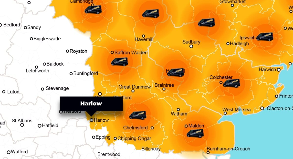 Harlow phone repair - call-out service coverage area