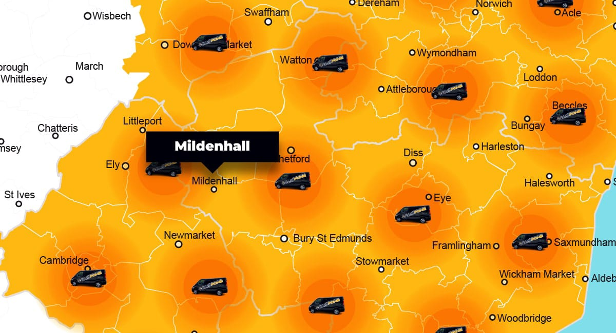Mildenhall phone repair - call-out service coverage area