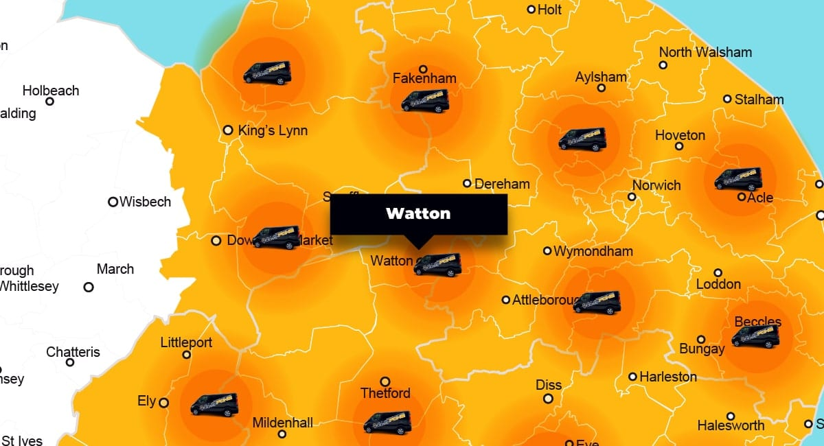 Watton phone repair - call-out service coverage area